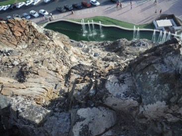 View of the parking lot and the small park below