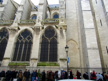 The view of Notre Dame from the cafe. This is one of two endless line ups to go inside the cathedral.
