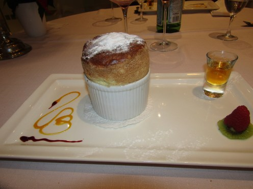 Directly out of the oven, Grand Marnier soufflé