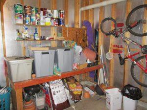 cluttered garage workbench