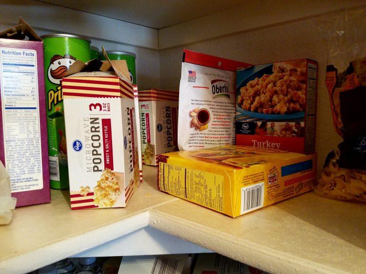 food on pantry shelf with no organization