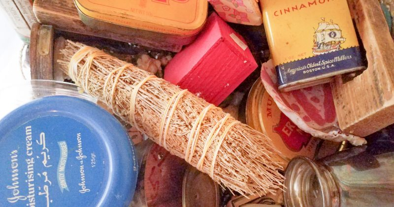 a basket full of small travel souvenirs