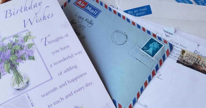 birthday card, letters with airmail stickers on envelopes