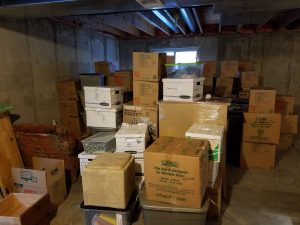 stack of boxes waiting to be sorted