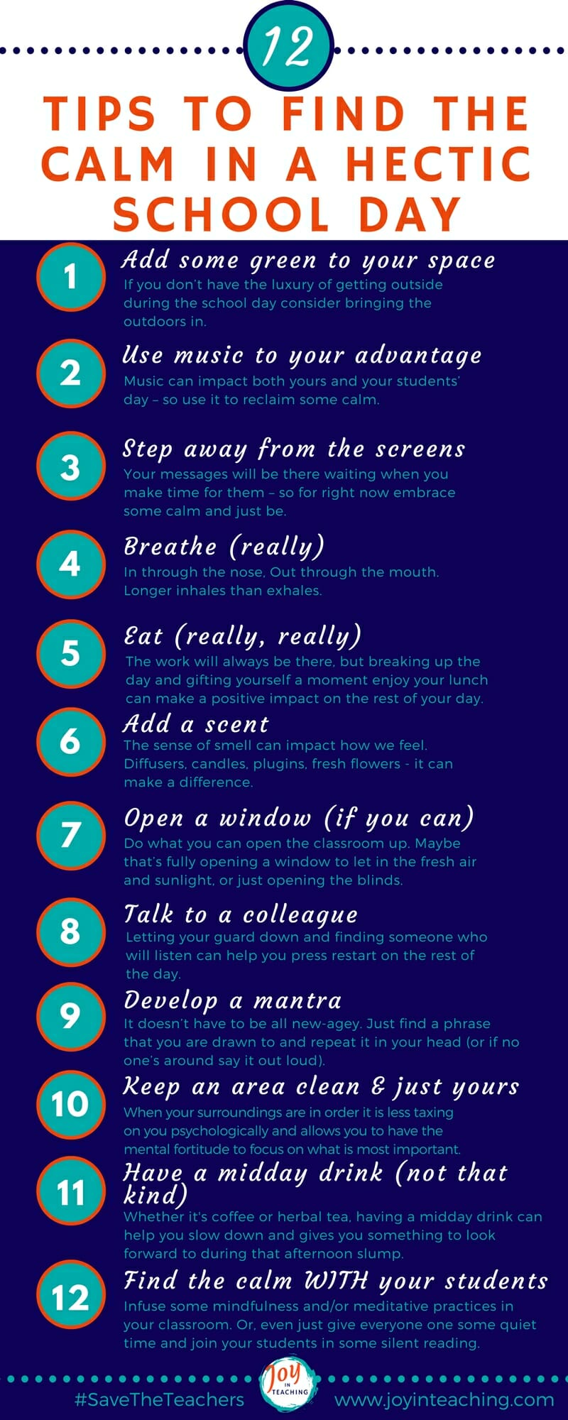 12 Tips to Find the Calm in A Hectic School Day - Infographic