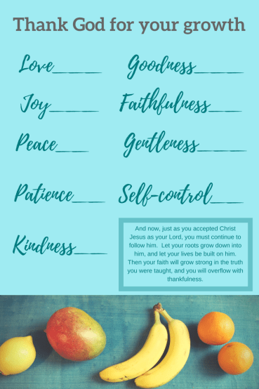 Printable to inventory your spiritual fruit