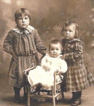Ruby, Perry, and Willis Goff, about 1903, Polk County, Minnesota.