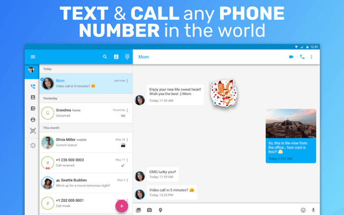 Interface do usuário TextFree