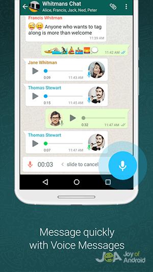 Gravação de voz do WhatsApp