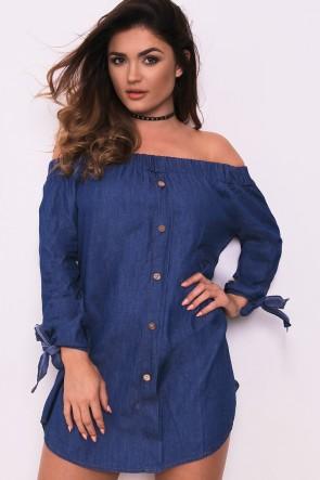 Dark denim bardot dress. Img: LaSula.co.uk
