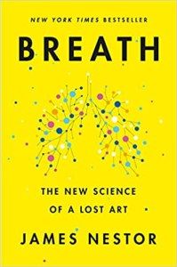 """Book cover of """"Breath"""" written by James Nestor, a New York Times Bestseller"""