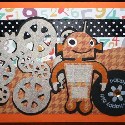 Robotz Cricut Happy Birthday Gears Card