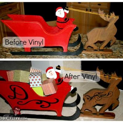 Santa Sleigh Cricut Vinyl Makeover