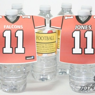 Football Jersey Water Bottles & Labels – Atlanta Falcons – Football Friday