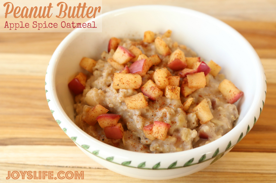 Peanut Butter Apple Spice Oatmeal Recipe + Giveaway #peanutbutter #recipe #breakfast