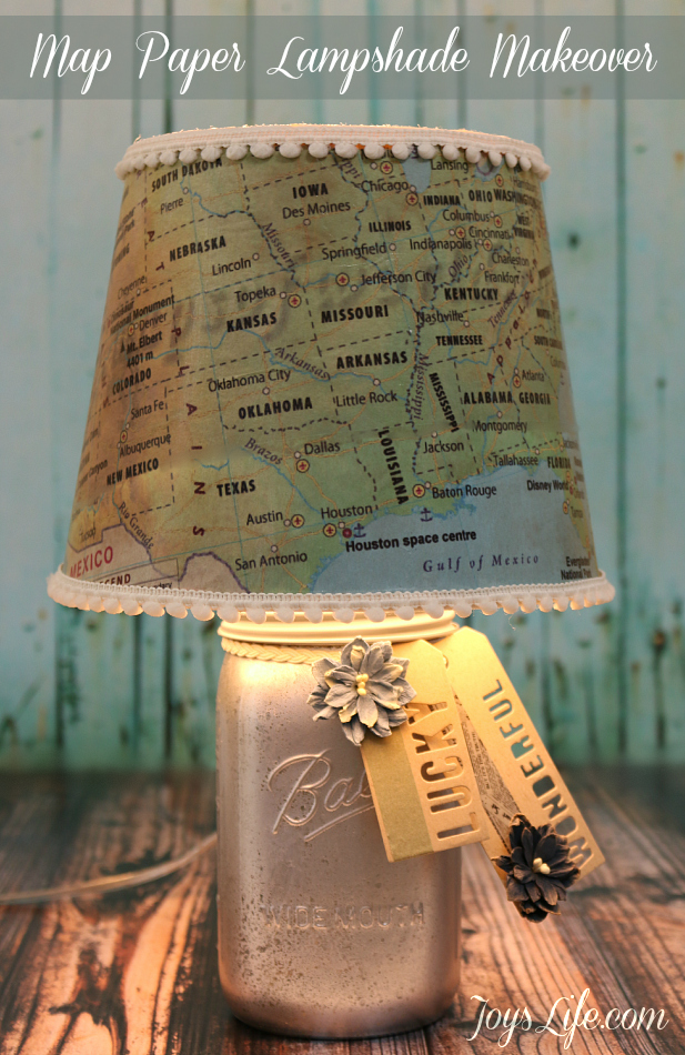 Diy map lampshade makeover tutorial joys life map paper lamp shade makeover modpodge diy lampshade aloadofball Images