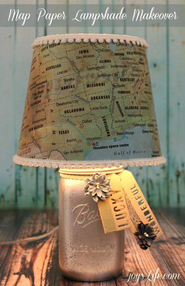 Map Paper Lamp Shade Makeover #ModPodge #DIY #lampshade