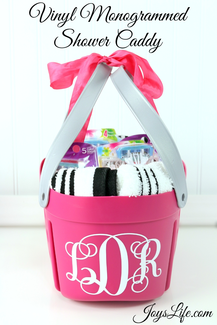 How to Make a Vinyl Monogrammed Shower Caddy | Joy\'s Life