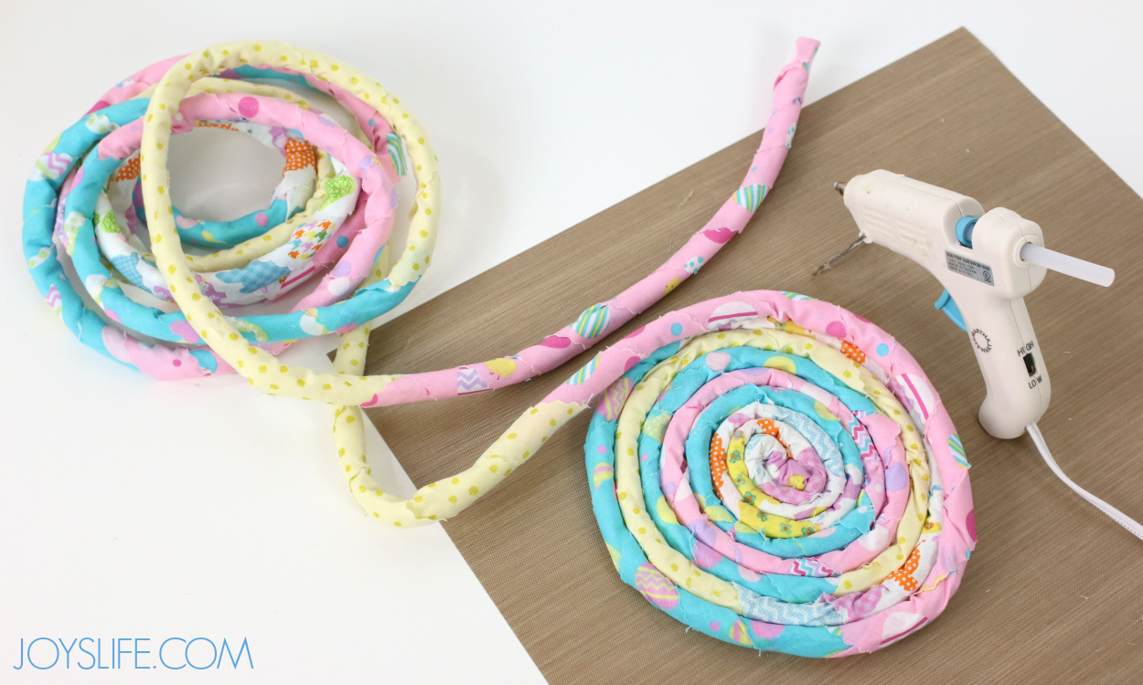 Rolled rope center for Rope Easter Basket