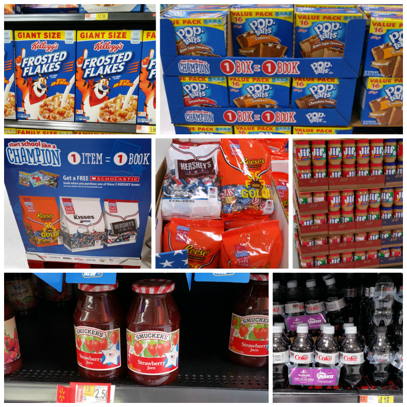 "Coca-Cola®, Kellogg's®, HERSHEY'S, and ©/® J.M. Smucker have teamed up with Scholastic to create the Walmart exclusive ""Start School Like a Champion"" program"