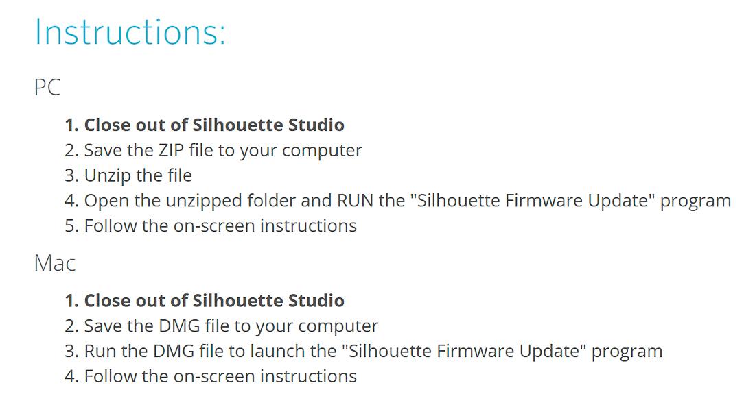 silhouette firmware update site