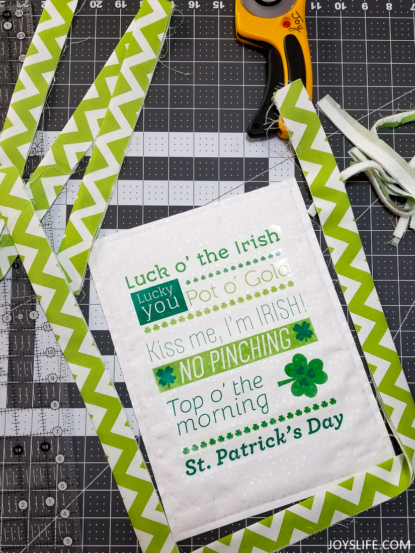 Binding a St. Patrick's Day wall hanging