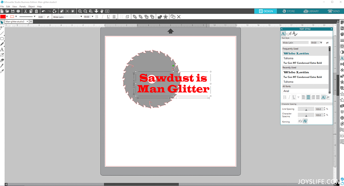 Sawdust is Man Glitter with Silhouette Studio Software