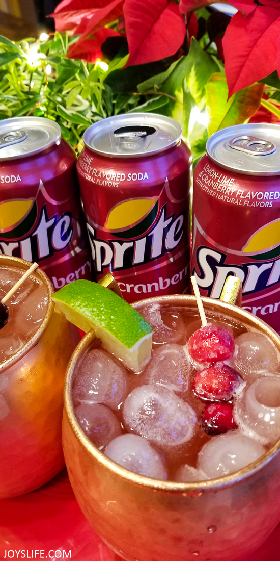 Cranberry Sprite Mule Cocktail with lime and cranberry garnish