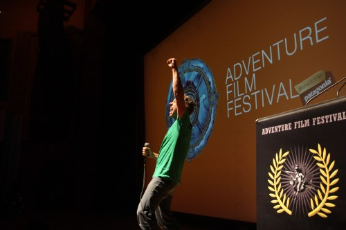 Timmy O'Neill rouses the crowd at the 9th annual Adventure Film Festival in Boulder Colorado
