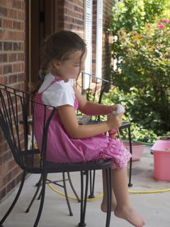 daughter on front porch
