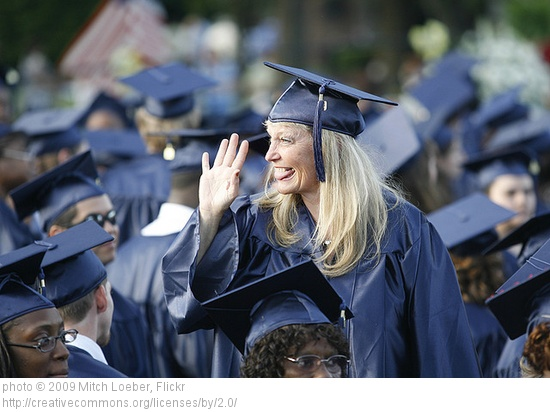 women at college commencement ceremony