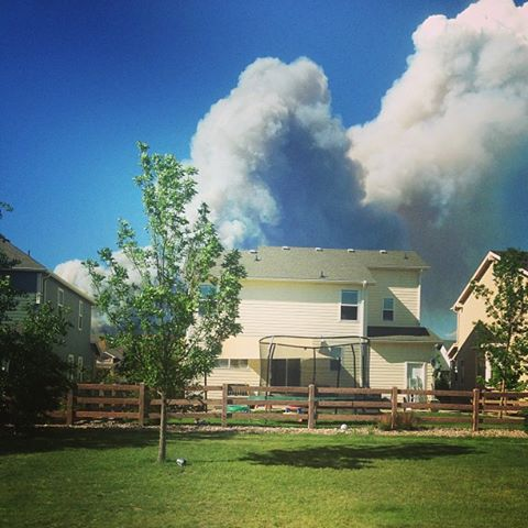 View from Rob Stennett's backyard of the wildfire.