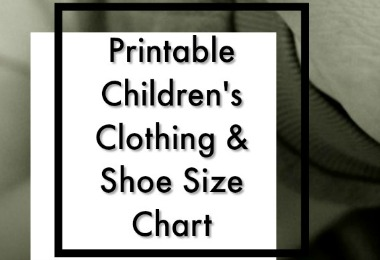 Free Printable Childrens Size Chart Bring with you when you shop