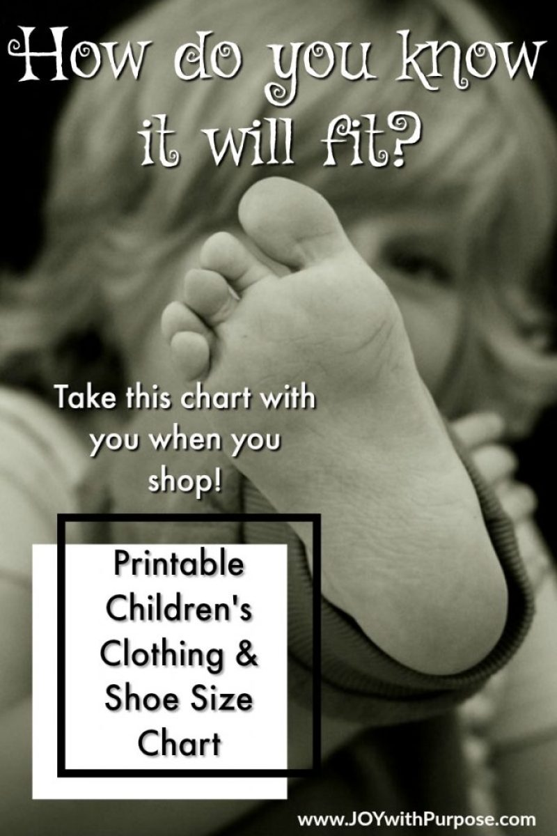 Printable Childrens size chart for clothing and shoes. Take it with you when you shop to make sure every item will fit!