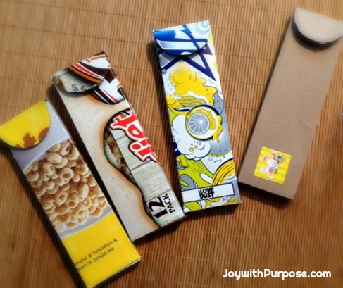 Upcycled Pencil Cases from Cereal and Soda Boxes easy craft