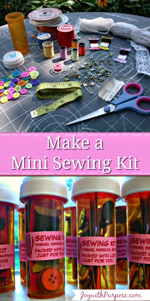 You can make a mini sewing kit from pill bottles