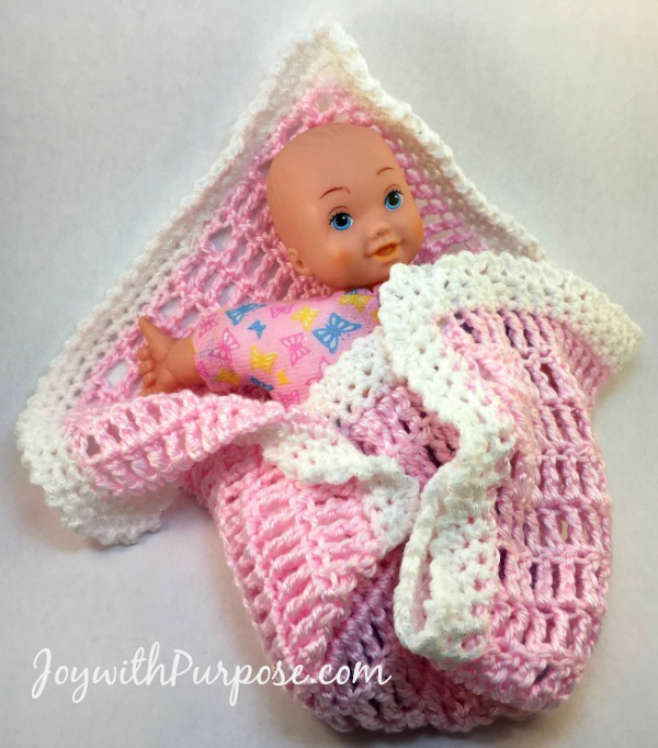 Easy Crocheted Baby Doll Blanket - Joy with PURPOSE