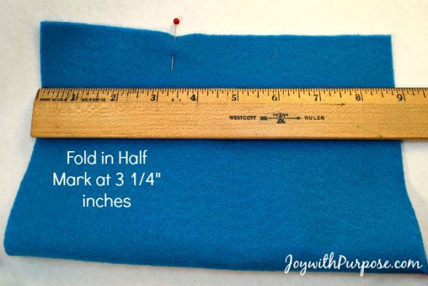 Doll Sleeping Bag first fold felt in half and measure