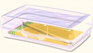 pencil box from walmart for homemade fishing kits