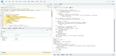 Debugging an R function interactively with debugonce()
