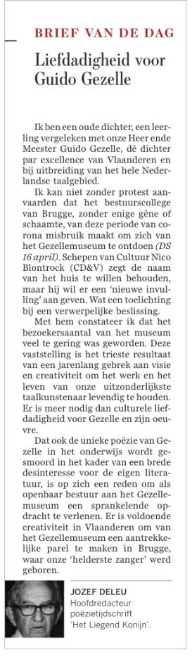 Brugge sluit Gezellemuseum