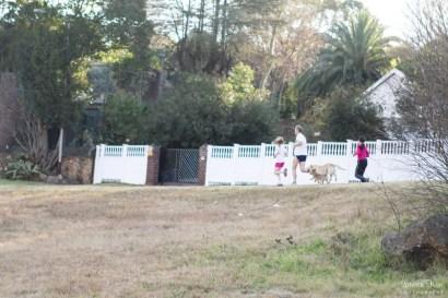 Family running in Delta Park