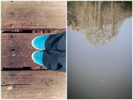 Blue shoes on wooden bridge