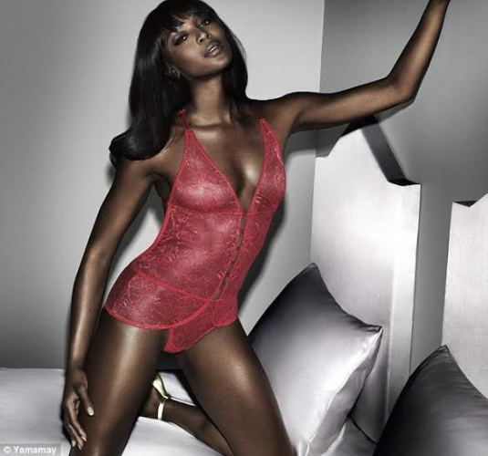 88494dc41 Naomi Campbell strips down to sexy lingeries to launch her underwear ...