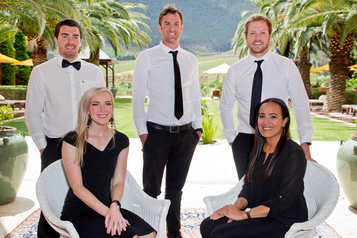 2020 Diners Club Young Winemaker of the Year Finalists Back left to right: Phillip Theron (Glen Carlou), Eben Meiring (Boekenhoutskloof) and Juandre Bruwer (Diemersdal) Front left to right: Karlin Nel (Vrede en Lust) and Natasha Williams (Bosman's Family Vineyards)