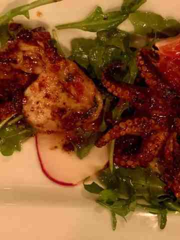 Baby Octopus with Blood Orange and Pickled Radish with Arugula