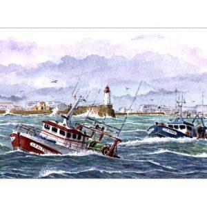 Départ en pêche en mer déchaînée au large des Sables d'Olonne - Aquarelle de JP Duboil