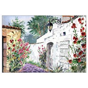 Ruelle de l'Ile de Ré aux roses trémières - Aquarelle de JP Duboil