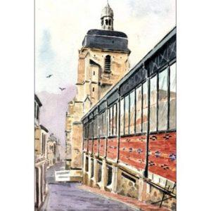 Les Halles et l'église Notre-Dame-du-Bon-Port aux Sables d'Olonne - Aquarelle JP Duboil