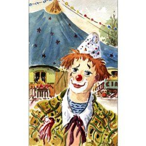 Le clown - Aquarelle de JC Duboil